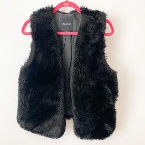 Madewell Black Faux Fur Vest Size Women's Medium